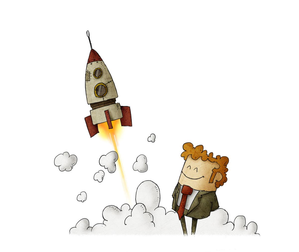 Erfolgreicher Geschäftsmann bei einem Raketenstart. Weißer Hintergrund