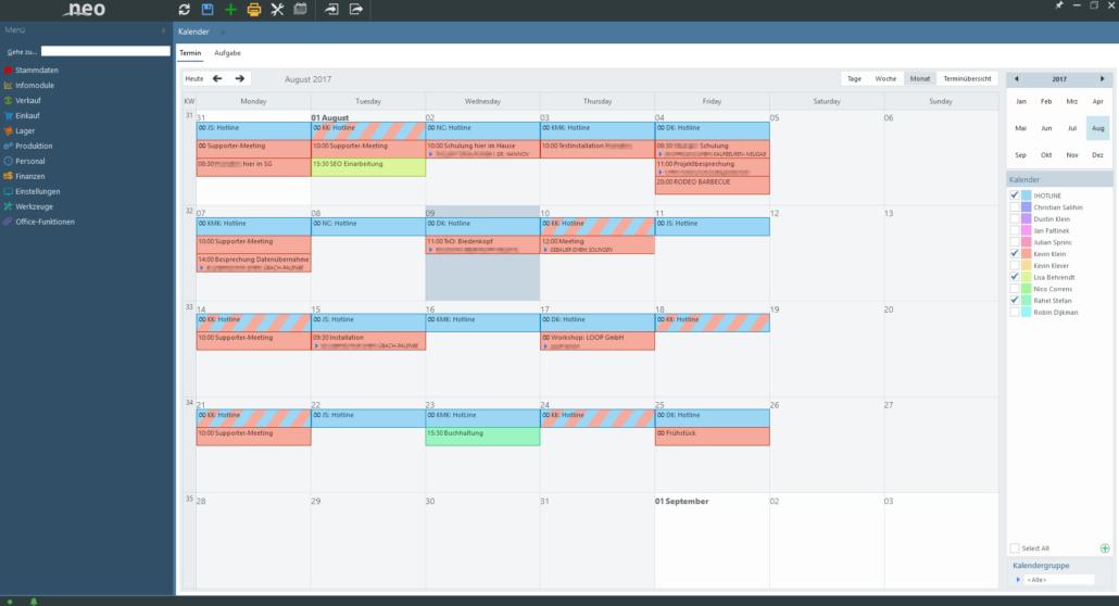 Kalender mit Verknüpfungen zu Mitarbeitern und Kunden