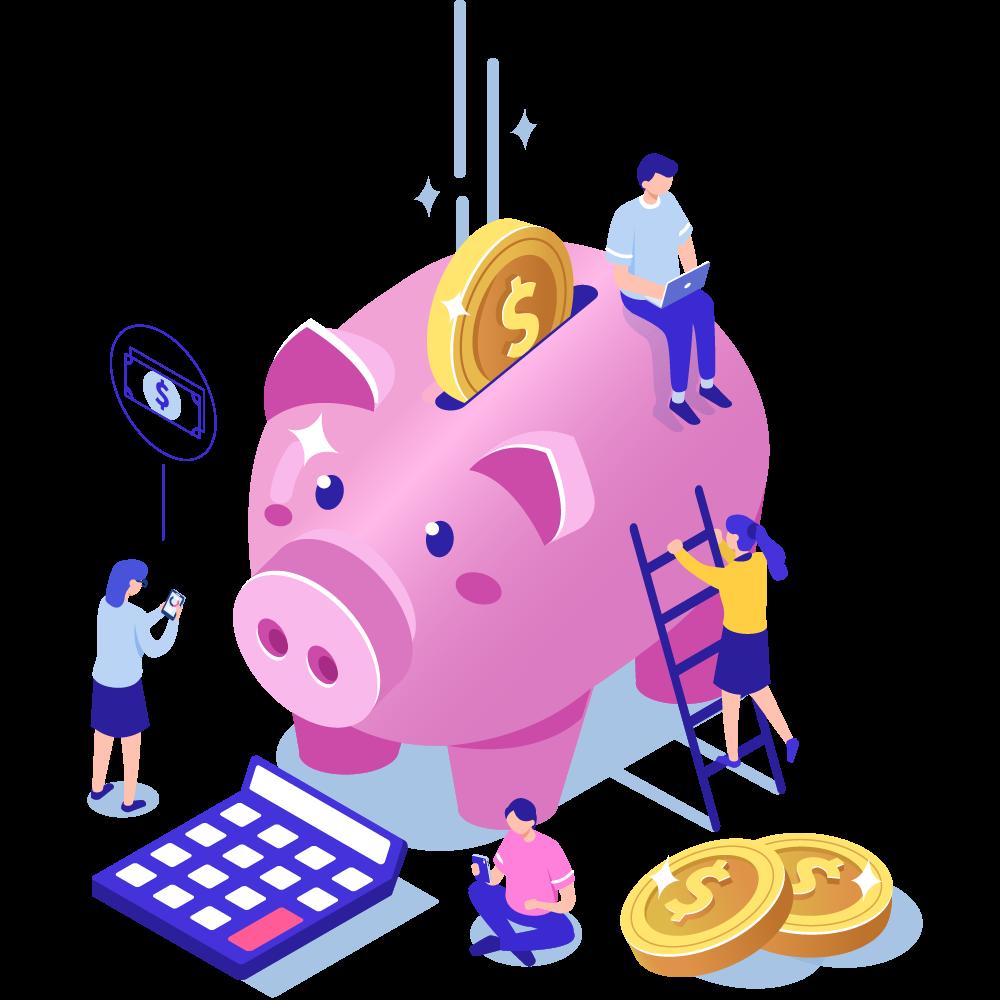 Illustration eines Sparschweins