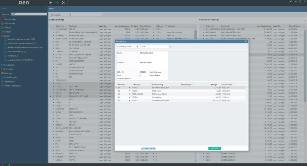Material-Requirements-Planning MRP für Bestell und Produktionsvorschlaege