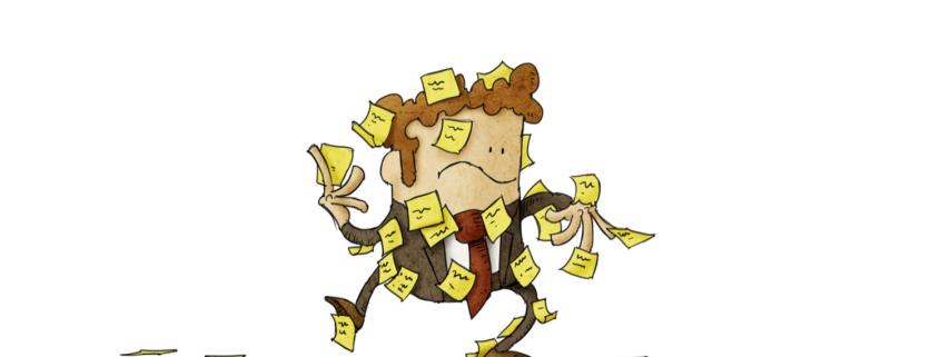 ERP System - verwirrter Geschäftsmann mit vielen Notizzetteln auf seinem Körper